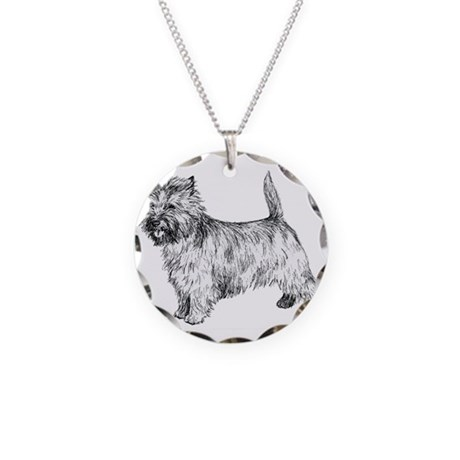 Cairn Terrier pen & ink Necklace Circle Charm