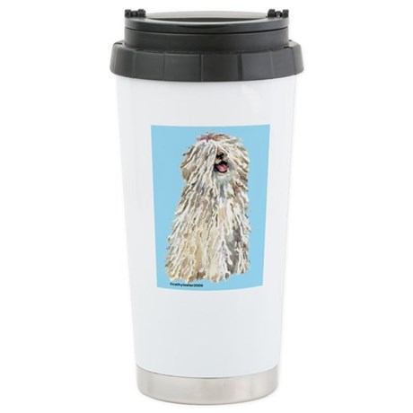 White Puli Sit Stainless Steel Travel Mug