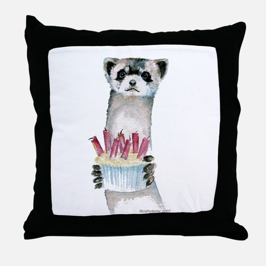 Birthday Ferret Throw Pillow