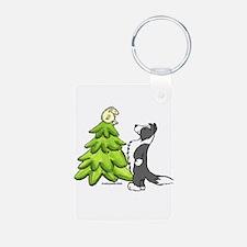 Border Collie Christmas Keychains