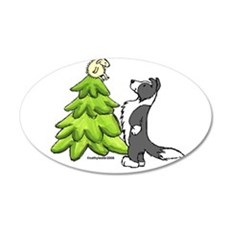 Border Collie Christmas 22x14 Oval Wall Peel