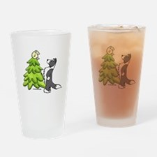 Border Collie Christmas Drinking Glass