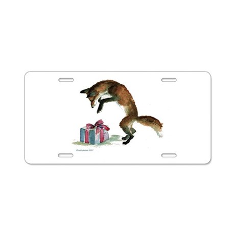 Fox and Present Aluminum License Plate