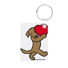 Chocolate Lab Valentine Keychains