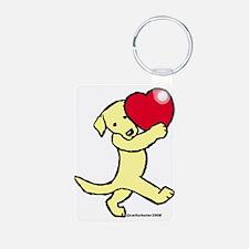 Yellow Lab Valentine Keychains