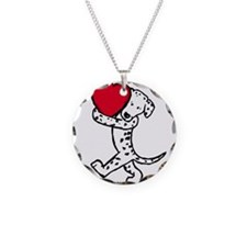 Dalmatian Valentine Necklace Circle Charm
