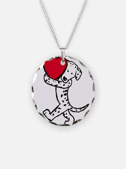 Dalmatian Valentine Necklace Circle Charm
