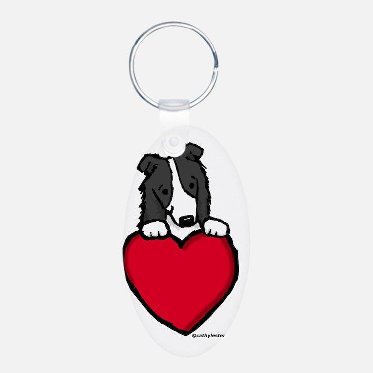 Black Border Collie Valentine Keychains