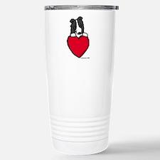 Black Border Collie Valentine Travel Mug