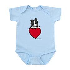 Black Border Collie Valentine Infant Bodysuit