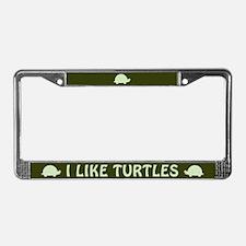 I Like Turtles License Plate Frame