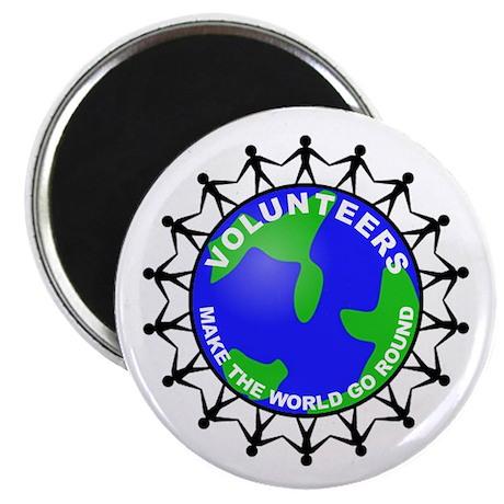 "Volunteers Make the World Go 2.25"" Magnet (10 pack"