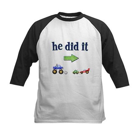 """He Did It"" (Right) Kids Baseball Jersey"