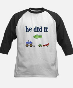 """He Did It"" (left) Kids Baseball Jersey"