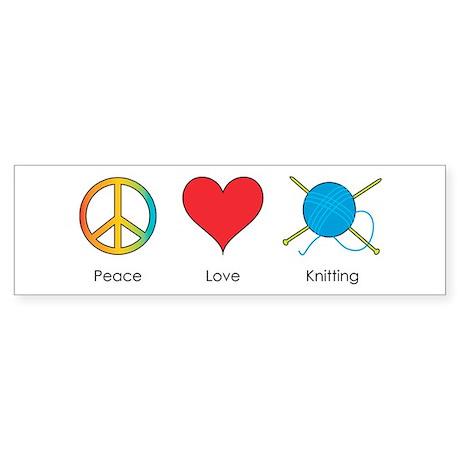 Peace Love Knitting Bumper Sticker