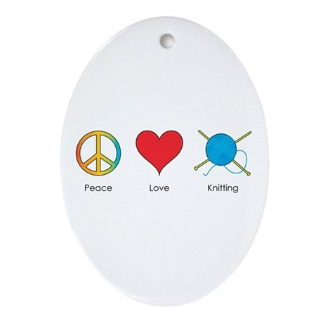 Peace Love Knitting Oval Ornament