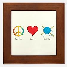 Peace Love Knitting Framed Tile