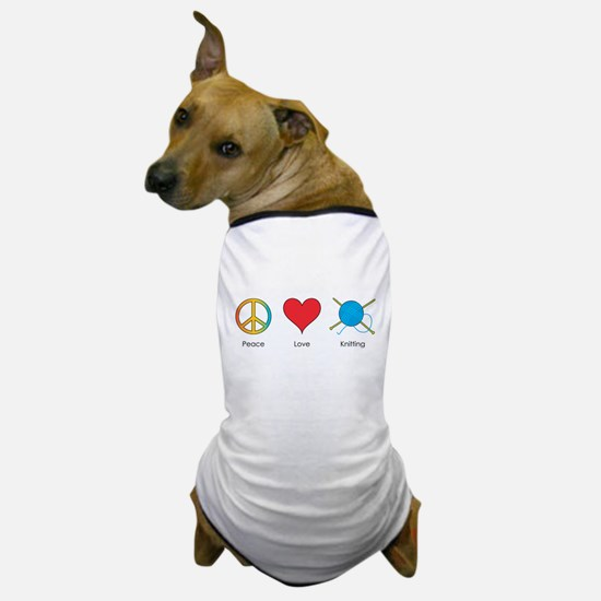 Peace Love Knitting Dog T-Shirt