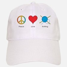 Peace Love Knitting Baseball Baseball Cap