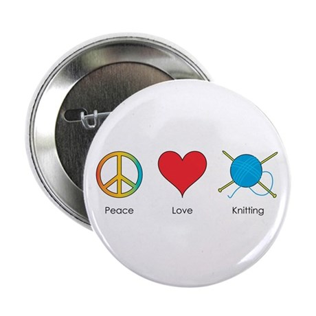 Peace Love Knitting Button