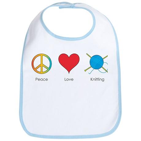 Peace Love Knitting Bib