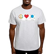 Peace Love Knitting Ash Grey T-Shirt