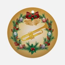 Christmas Trumpet Music Ornament (Round)
