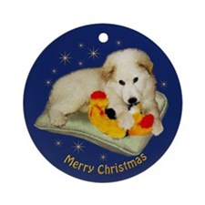 Great PyreneesOrnament (Round),Puppies Xmas,blue
