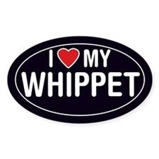 I Love My Whippet Oval Sticker/Decal