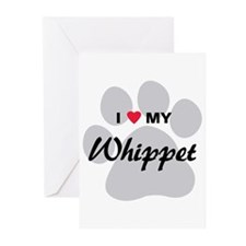 I Love My Whippet Greeting Cards (Pk of 20)