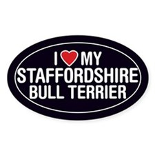 LoveMy Staffordshire Bull Terrier OvalStickerDecal