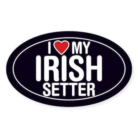 I Love My Irish Setter Oval Sticker/Decal
