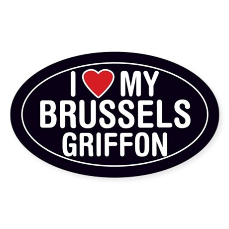 I Love My Brussels Griffon Oval Sticker/Decal