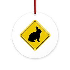 Rabbit Crossing Sign Ornament (Round)