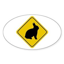 Rabbit Crossing Sign Oval Decal