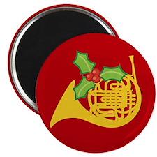 Christmas French Horn Music Magnet
