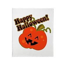 Funny Halloween Pumpkin Throw Blanket
