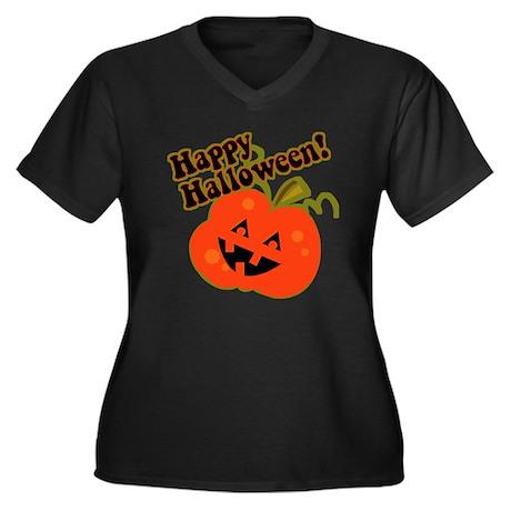 Funny Halloween Pumpkin Women's Plus Size V-Neck D