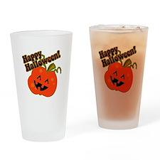Funny Halloween Pumpkin Drinking Glass