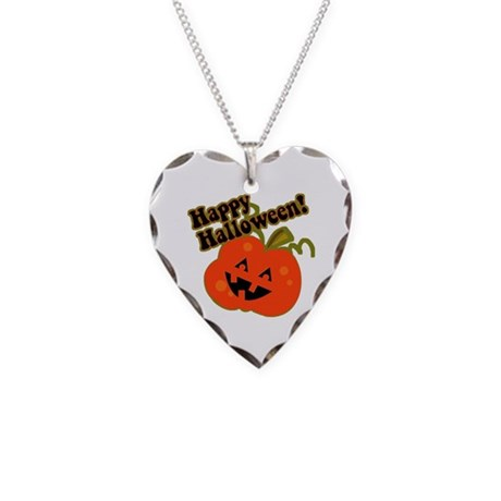 Funny Halloween Pumpkin Necklace Heart Charm