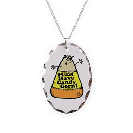 Funny Halloween Candy Corn Necklace Oval Charm