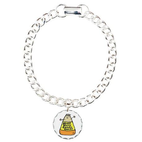 Funny Halloween Candy Corn Charm Bracelet, One Cha