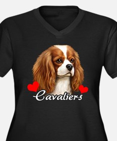 Love Cavaliers Women's Plus Size V-Neck Dark T-Shi