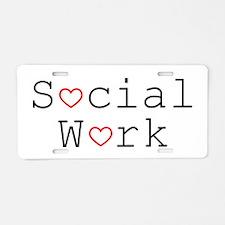 Social Work Hearts Aluminum License Plate