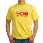 Peace Love Medicine Yellow T-Shirt