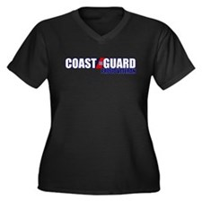 USCG Veteran Women's Plus Size V-Neck Dark T-Shirt