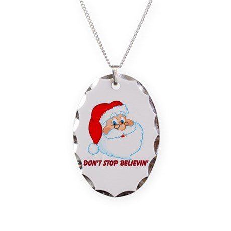 Don't Stop Believin' Necklace Oval Charm