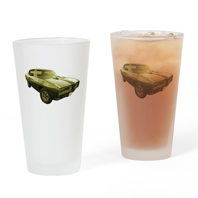 1968 pontiac gto muscle car drinking glass by streetrodstyles for Kitchen colors with white cabinets with muscle car stickers