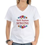 Singing Happiness Women's V-Neck T-Shirt