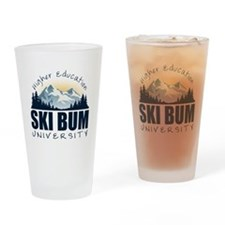 Ski Bum University Drinking Glass